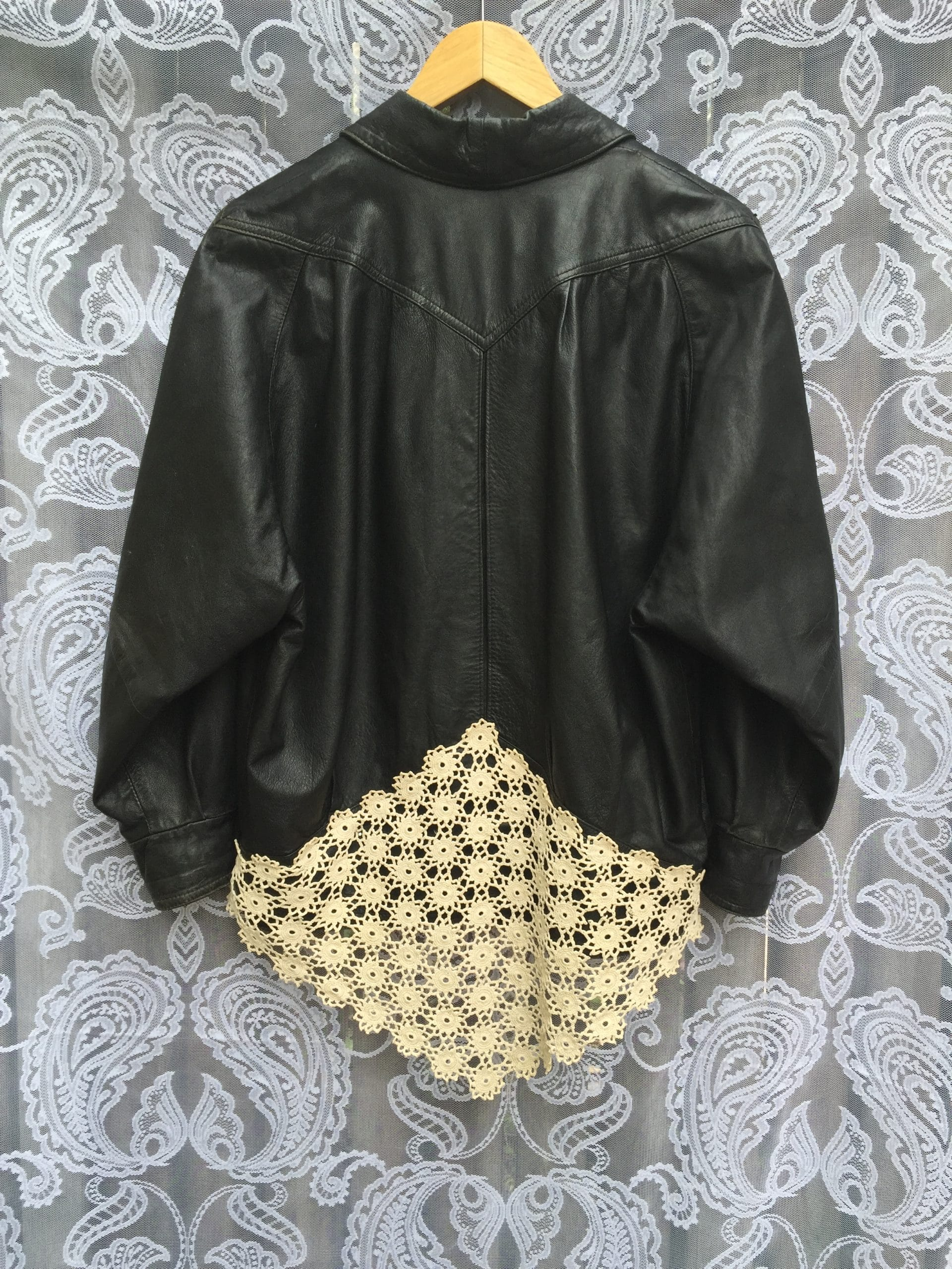 Vintage Leather + Doily Jacket