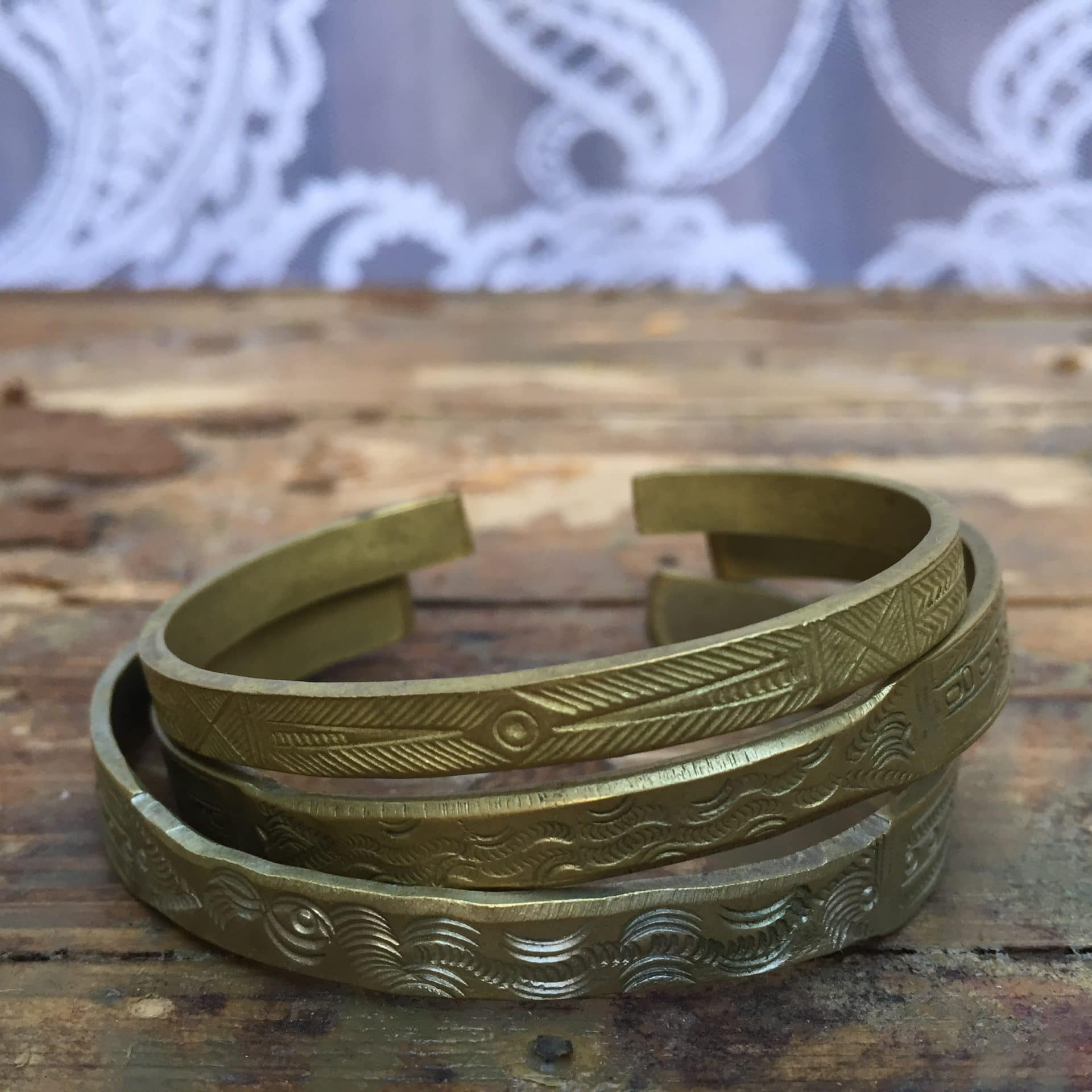 Ethnic Brass Bangle Set