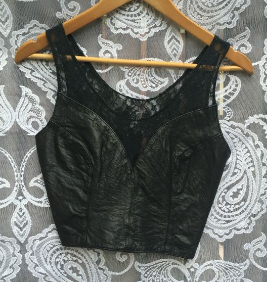 Leather and Lace Vintage Fitted Top