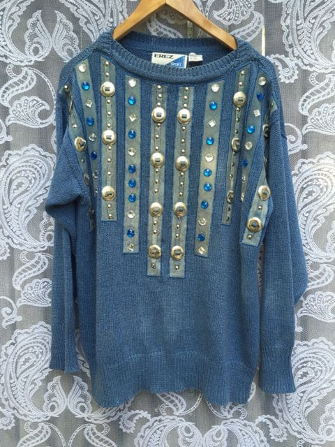 Western Style Concho and Leather Blue Jumper