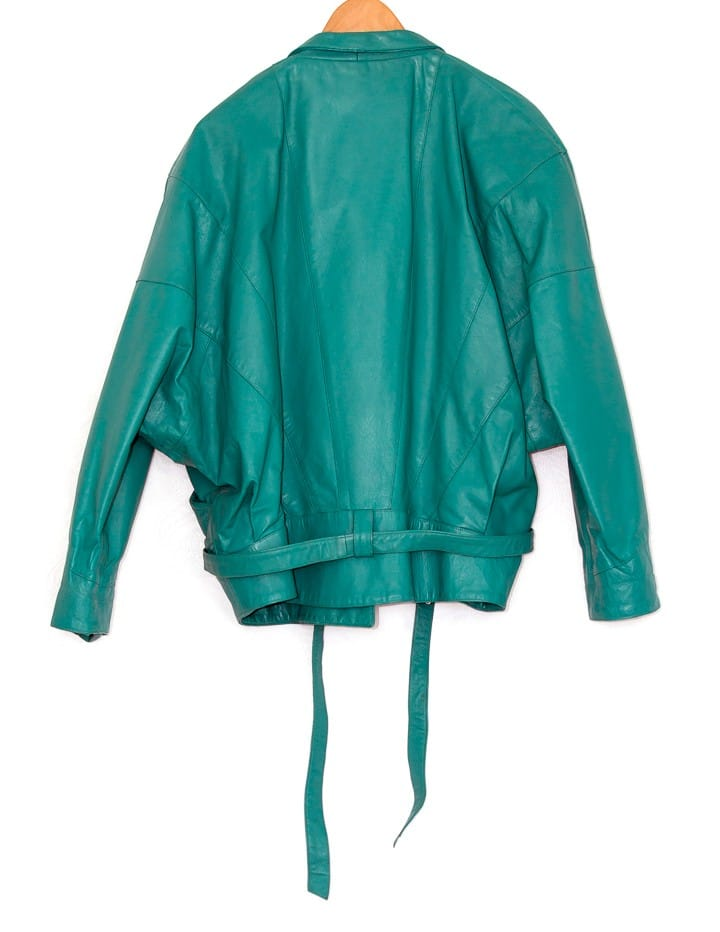 Turquoise Green Leather Vintage jacket