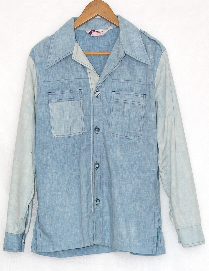 Vintage Denim Look Two Tone Shirt