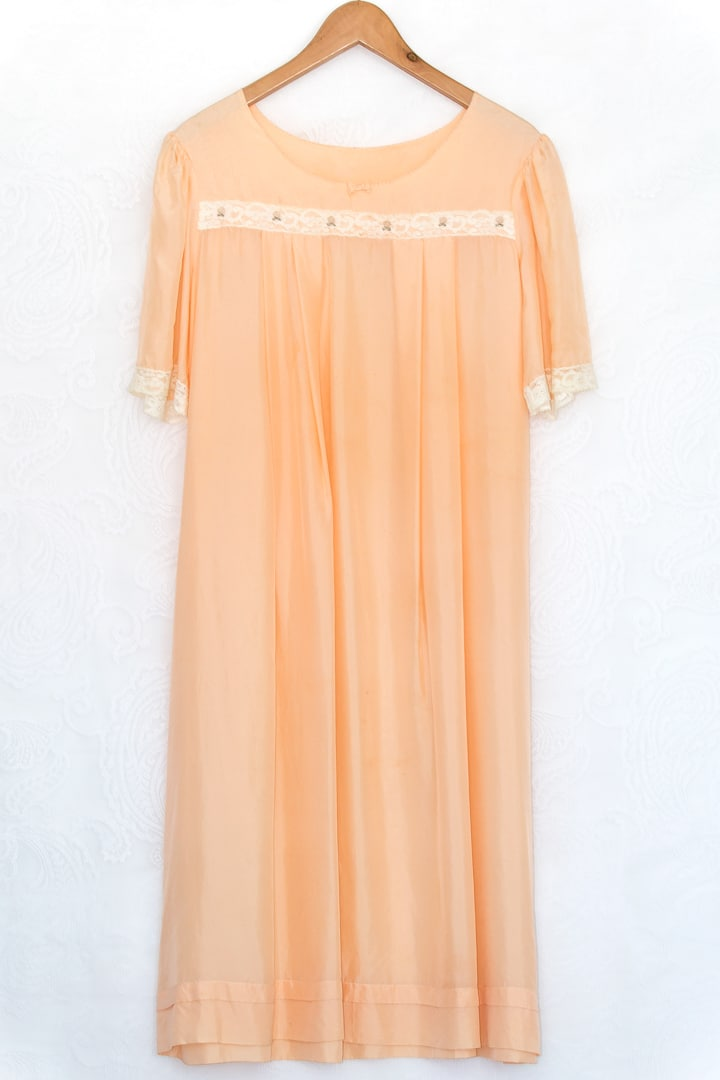 Peach Vintage Silk Night Gown Dress