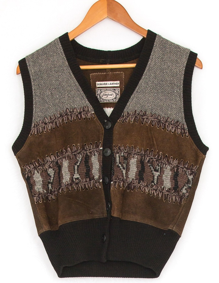 Vintage leather and wool vest
