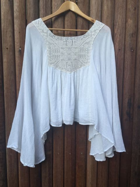 White Lisa Brown Delicate Crochet Lace Flow Goddess Poncho Top