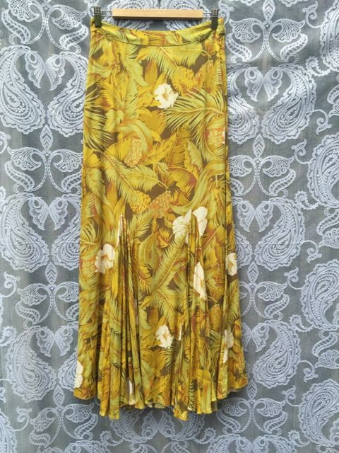 Amilita Long Flower and Palm Print Seventies Skirt