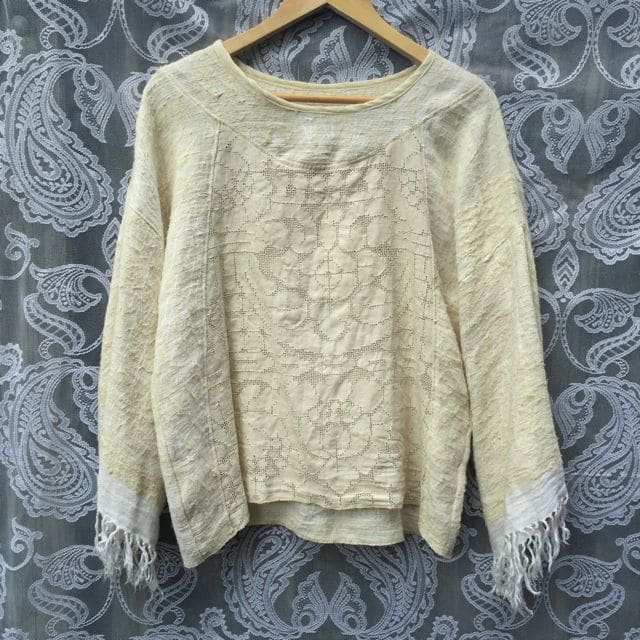 Raw Silk Vintage Crochet Lace Handmade Unique Fringed Longsleeve Stunning Top