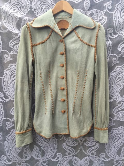 Mexican Handcrafted Leather and Suede Vintage Shirt Jacket