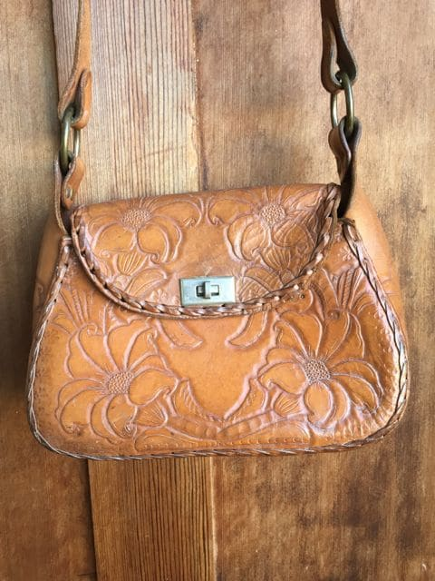 Vintage Leather flower Hand tooled print plait bag cowgirl western