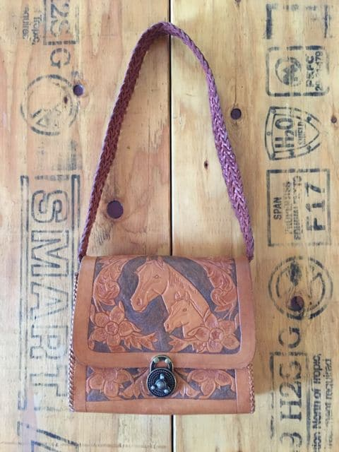 Vintage Hand Tooled Leather Bag Horse