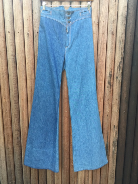 Vintage Denim High-waisted Seventies Flares Plait Belt