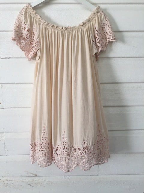 Rue Stiic Soft Pink Detailed Lace Trim Dress https://www.secondlovesvintage.com/