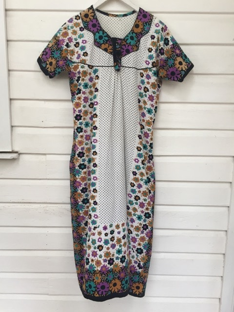 Floral Polka Dot Sventies Vintage Maxi Dress https://www.secondlovesvintage.com/