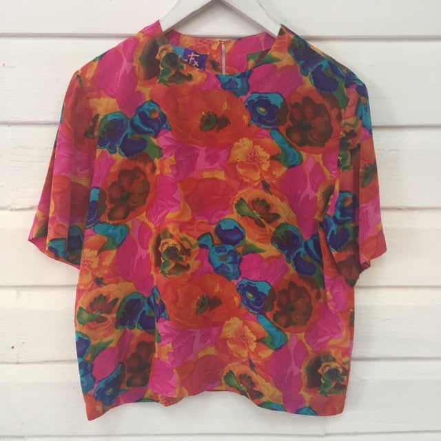 Abstract Floral Print Vintage Silk Top https://www.secondlovesvintage.com/