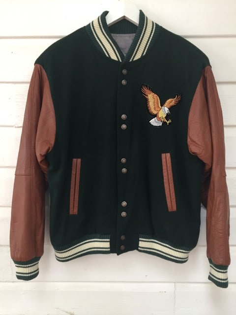 Eagle Patch Wool Leather Bomber Jacket https://www.secondlovesvintage.com/