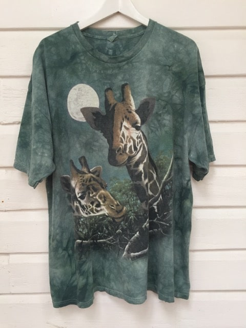 Green Tie Dye Moon Giraffe Vintage T-shirt https://www.secondlovesvintage.com/