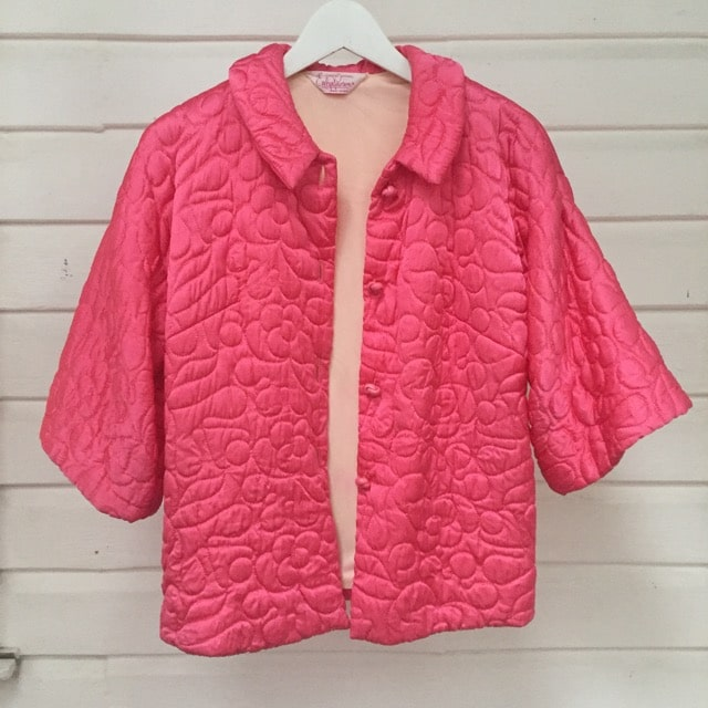 French Pink Vintage Quilted Lounge Jacket https://www.secondlovesvintage.com/