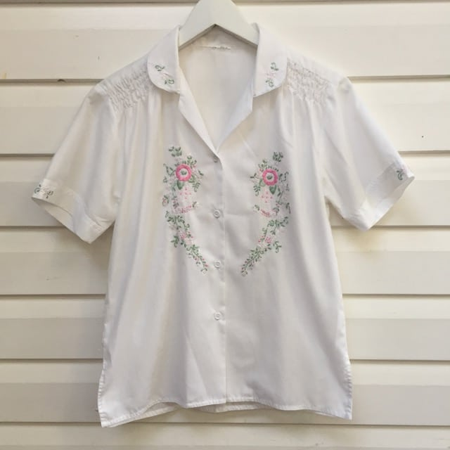 Sheer Vintage Cotton Flower Embroidered Shirt https://www.secondlovesvintage.com/