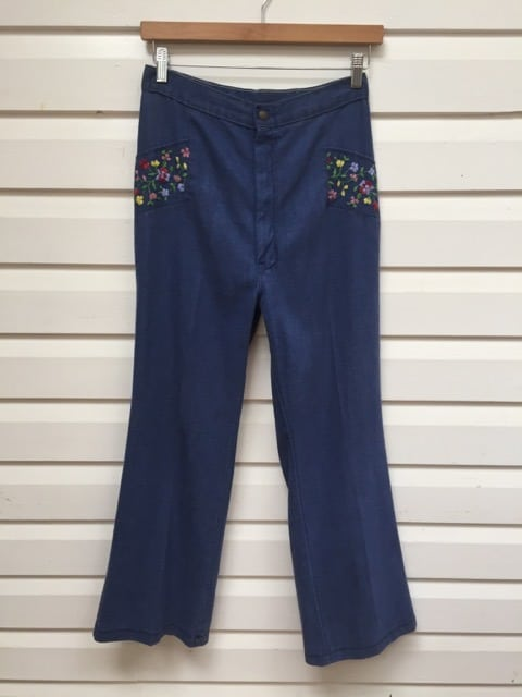 Flower Embroidered Vintage Denim Jeans https://www.secondlovesvintage.com/
