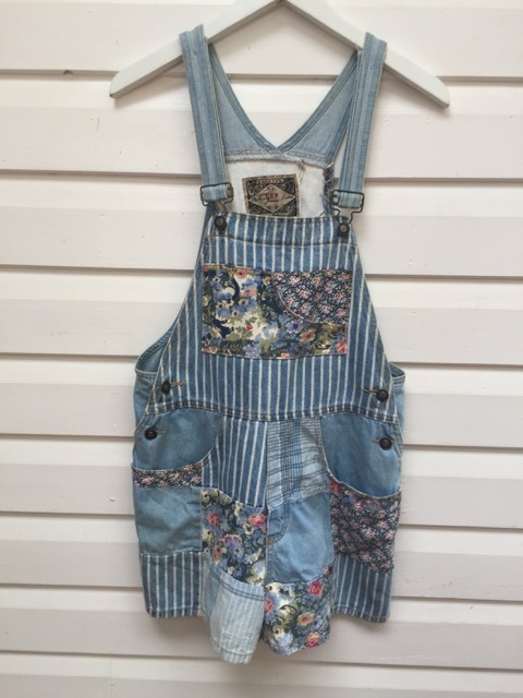 Mixed Print Patchwork Vintage Denim Overalls https://www.secondlovesvintage.com/