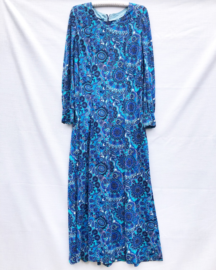 Bohemian Seventies Print Vintage Dress https://www.secondlovesvintage.com/