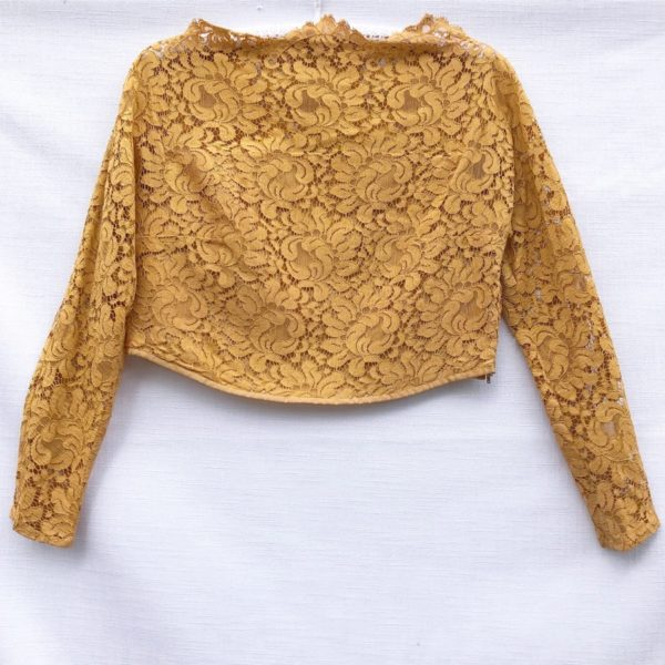 Mustard Vintage Lace Cropped Top https://www.secondlovesvintage.com/
