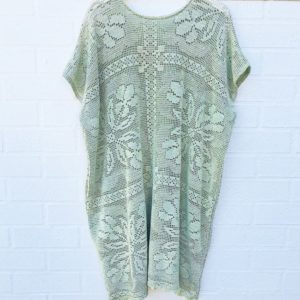 Crochet Lace Vintage Dress Sea Green https://www.secondlovesvintage.com/