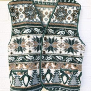 Faux Wool Snowflake Vintage Vest https://www.secondlovesvintage.com/