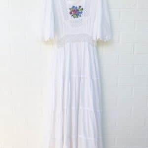 Floral Cross Stitch Vintage Cheesecloth Dress https://www.secondlovesvintage.com/
