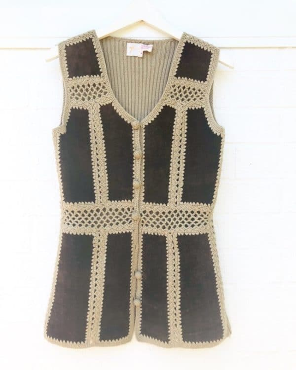 Seventies Suede Knit Vintage Vest https://www.secondlovesvintage.com/