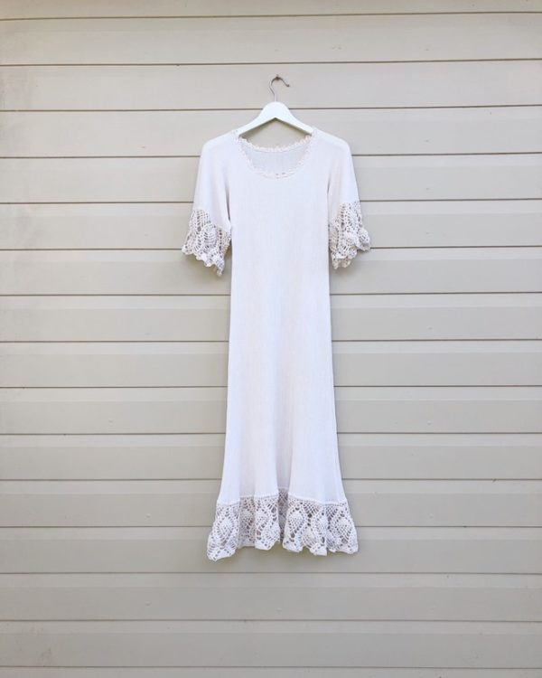 Bone Cheesecloth Vintage Crochet Lace Dress https://www.secondlovesvintage.com/