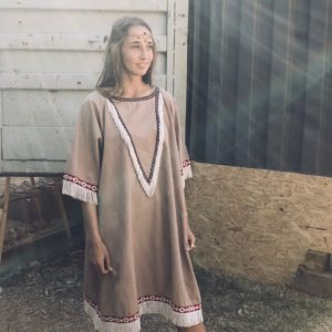 Vintage Ethnic Fringe Oversized Dress https://www.secondlovesvintage.com/