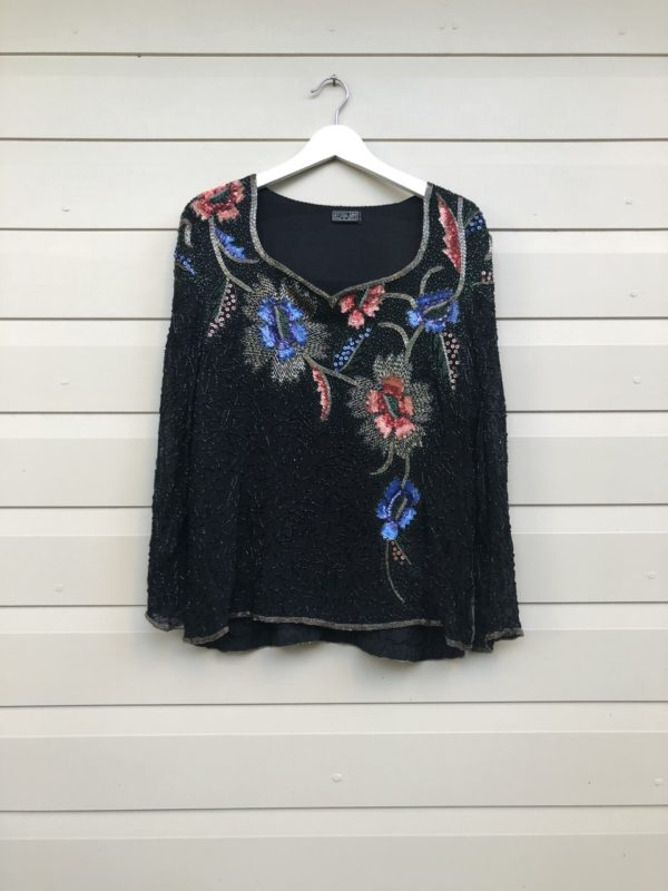 Floral Sequin Vintage Silk Top https://www.secondlovesvintage.com/