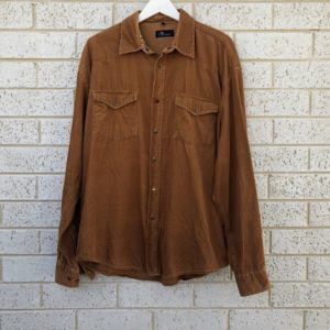 Rusty Brown Corduroy Vintage Shirt https://www.secondlovesvintage.com/